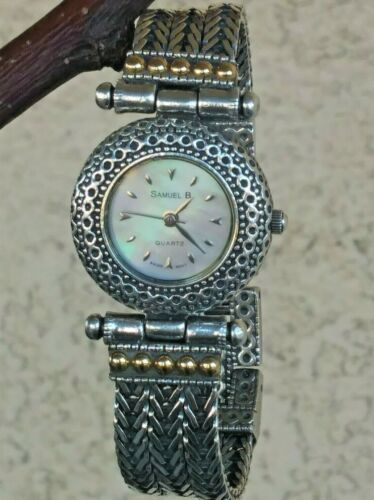 """Samuel B Handcrafted Sterling W/18K Yellow Accents Foxtail Bracelet Watch 6"""""""