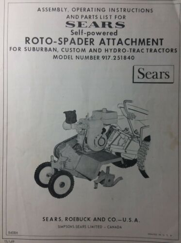Photo Sears Suburban Tractor 3-Point Roto Tiller & 7hp Engine Owner & Parts (2 Manuals