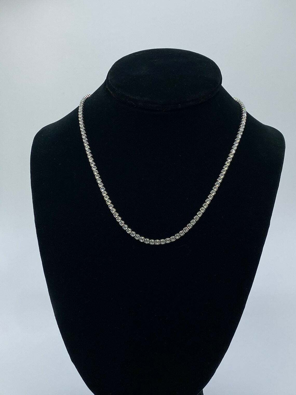 24Ct Round Cut Diamond Women's Tennis Necklace 925 Solid Sterling Silver 3mm 18 3