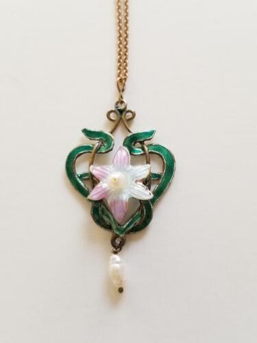 Antique Vtg 1900 Art Nouveau Sterling Guilloche Enamel Lavalier Necklace Pendant