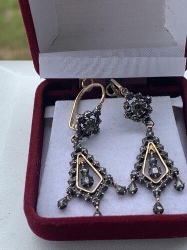 ANTIQUE GEORGIAN ROSE CUT DIAMONDS SILVER CHANDELIER DROP EARRINGS