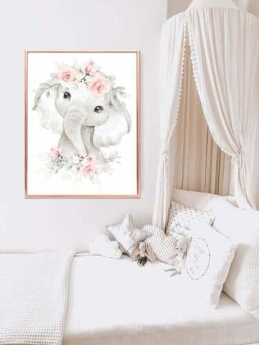 Nursery Wall Art Elephant - Pink and Grey Nursery Decor - Cute Baby Girl