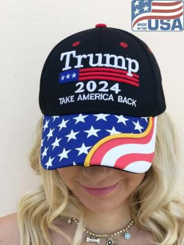 Donald Trump Hat Make America Great Again 2024 Campaign Republican Black Cap USA