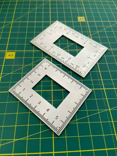 Leather square steel ruler DIY leathercraft tools set cutting templates inch cm