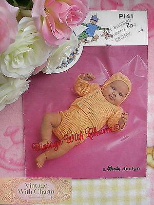 Vintage Crochet Pattern Baby's Sweater, Romper & Cap. 2 Sizes FREE UK P&P!