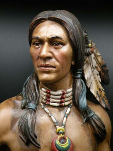 """Native American Indian Brave w/ Spear Hand-Painted Resin Statue 23"""" Tall New"""