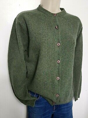COUNTRY COLLECTION VINTAGE WOMENS JUMPER CARDIGAN M GREEN GREY WOOL