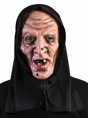 Scary Black Hooded Haggard Witch Mask Latex Halloween Horror Adult Men Women