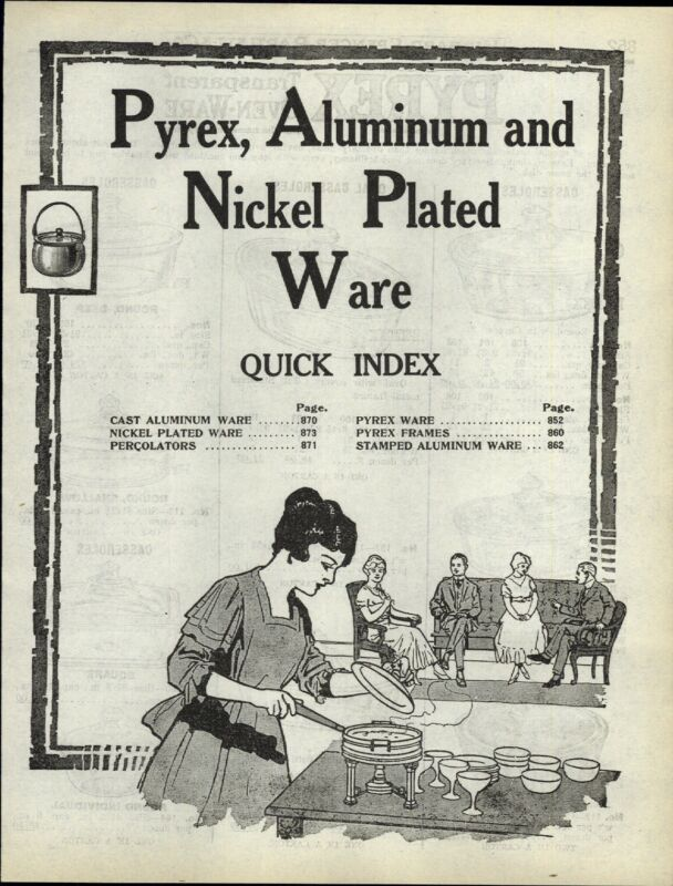 1922 PAPER AD 8 PG Pyrex Transparent Oven Ware Glass Cookware White Engraved
