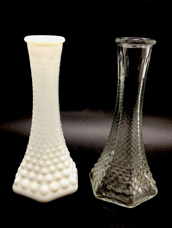 """2 Vintage EO Brody Co Hobnail Milkglass & Clear Bud Vases #175 USA 6"""""""