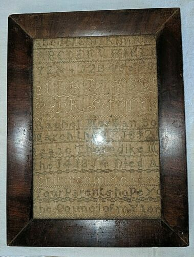 Antique Sampler Needlework Alphabet Numbers Framed Hand Stitched 1812 1814 Dates