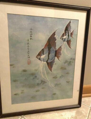 Antique/Vintage Japanese Woodblock Watercolor Print Fish