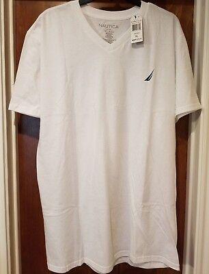 NWT Men's NAUTICA XL Classic Graphic Bright White V-Neck T Shirt