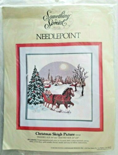 Vintage Candamar Christmas Sleigh Picture Needlepoint Kit Something Special