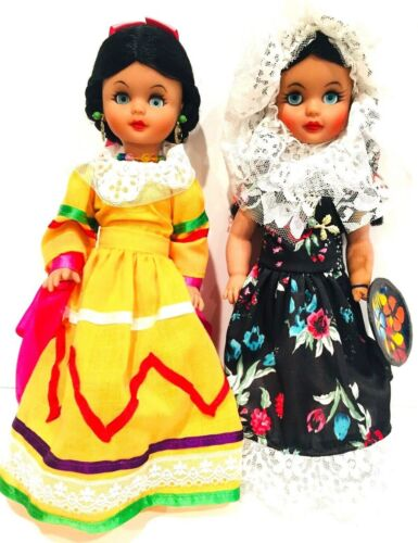 """Vintage Mexican Doll Set 13"""" Tall"""
