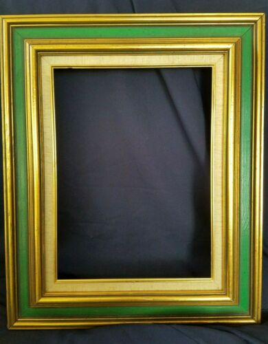 MADE IN SWEDEN MID-CENTURY VINTAGE WOOD GOLD LINEN PICTURE FRAME 23.5X19.5 GREAT
