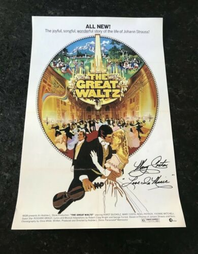 * MARY COSTA * signed autographed 12x18 poster * THE GREAT WALTZ * COA 1