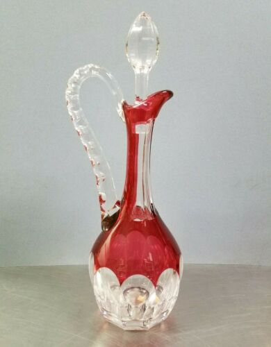 Saint Louis Cristal France Bristol Crystal Decanter, Ruby Red Cut to Clear Glass