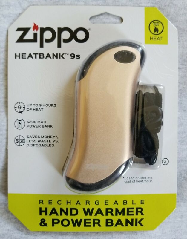 Brand New Zippo Heatbank 9s Rechargeable Hand Warmer 40513 (Champagne) USB Cable