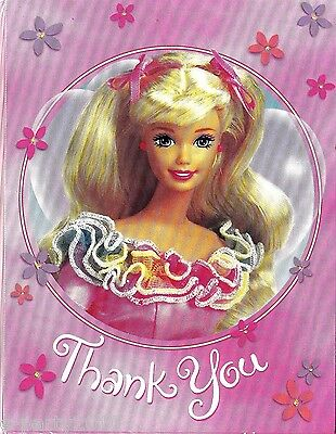 BARBIE THANK YOU NOTES (8) ~ Birthday Party Supplies Stationery Cards Mattel](Thank You Stationery)