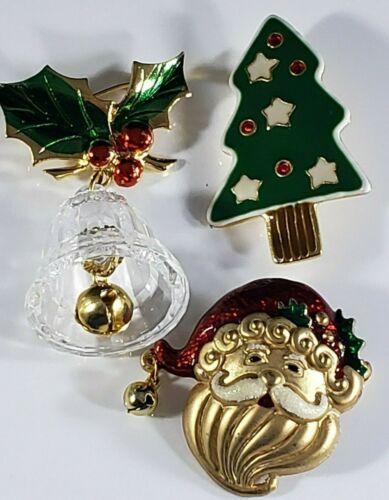 Christmas Holiday  Brooch Pin Lot  Gold Tone Santa Tree Plastic Bell signed AAi
