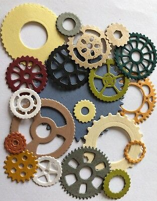 GEARS Die-Cuts(15pc)Steampunk •Cog•Metal•Sprocket•Earthtone•Machine Antique•Spin