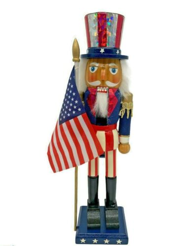 """Patriotic Wooden Nutcracker 4rth of July w/American Flag 14"""" Uncle Sam"""