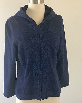 Coldwater Creek Blue Print Zip Front Jersey Hooded Jacket Petite Small