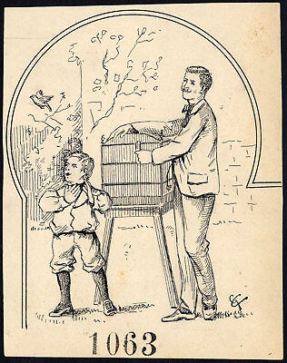 Antique Drawing-MAN AND A BOY-BIRD-CAGE-ITEM 1063-Gerard Claes-1900
