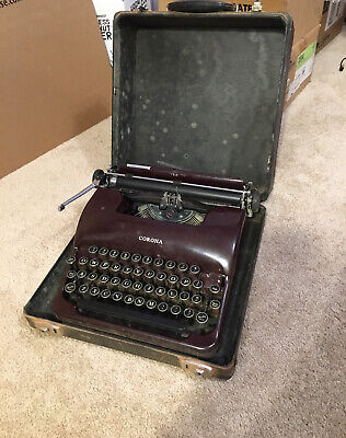 Antique Red Smith Corona Sterling Burgundy Portable Typewriter for Restoration