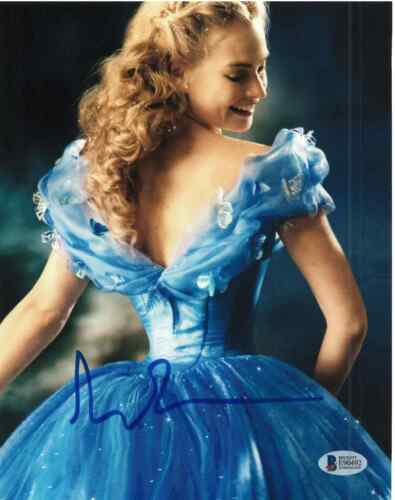 LILY JAMES SIGNED 8X10 PHOTO CINDERELLA BECKETT BAS AUTOGRAPH AUTO COA A