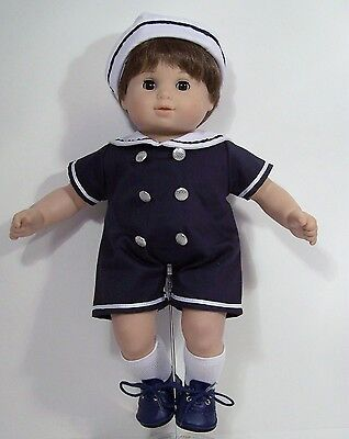 NAVY BLUE Sailor Romper Suit w/Hat Doll Clothes For Bitty Baby Boy Twin (Debs)](Navy Blue Suits For Boys)