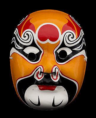 Mask Opera Chinese in Plaster & Paper Mache Orange 1661