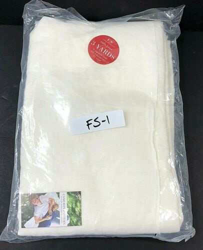 100% Linen Fabric BLEACHED White 3 Yards IL019 by Fabrics Store NEW