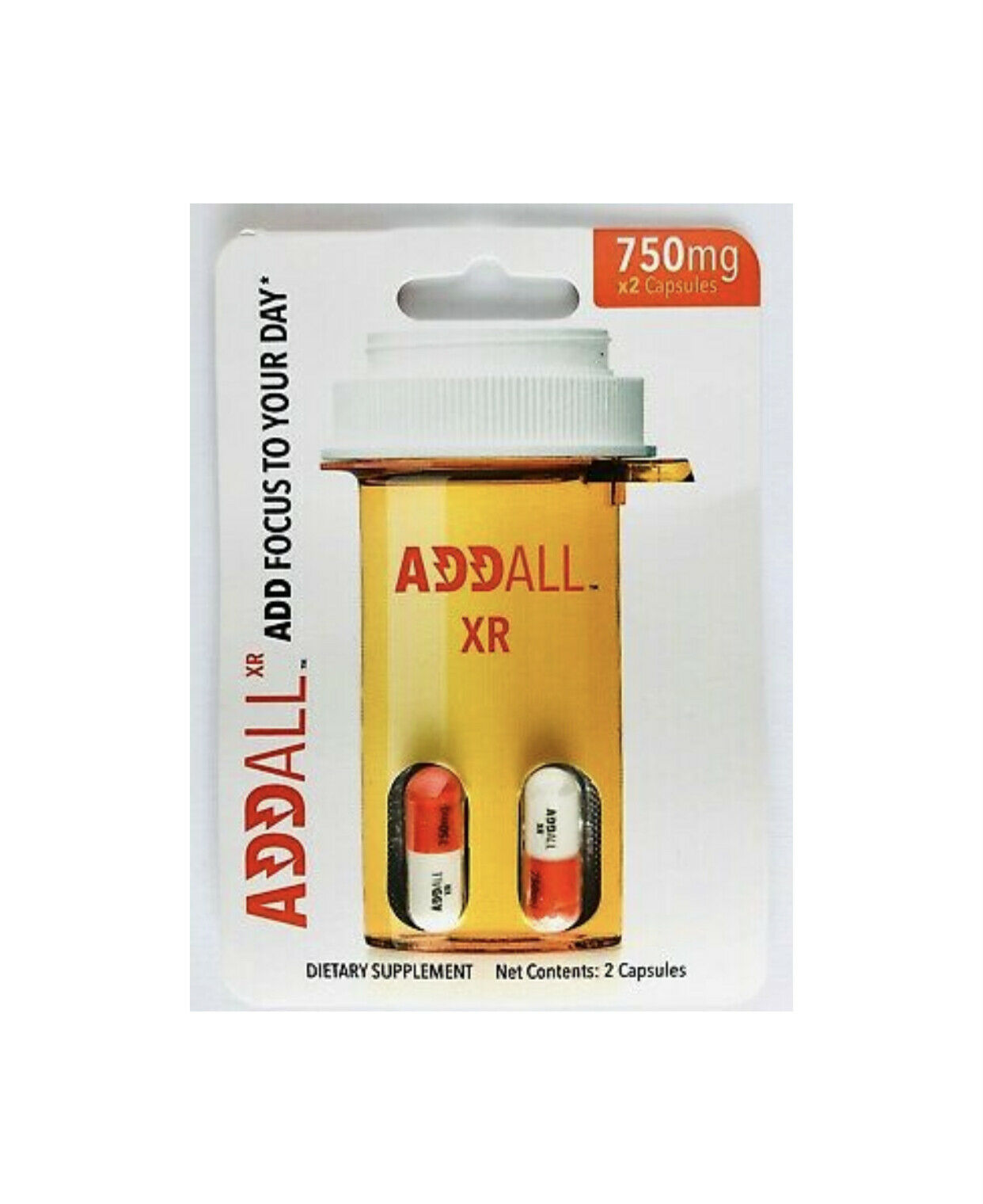 Addall XR Energy Focus Memory Concentration Relax 750mg 3 pack - 6 pills