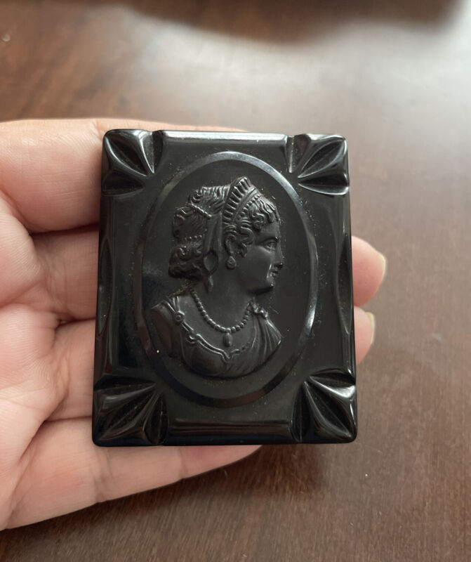 LARGE ANTIQUE GUTTA PERCHA MOURNING CAMEO BROOCH PIN MOMENTO