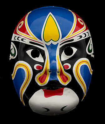 Mask Opera Chinese in Plaster Cast and Paper Mache Blue 1662