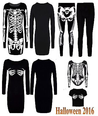 Damen Halloween Übergröße Leggings Body Skelett Kleid Kostüm Damen 8-26