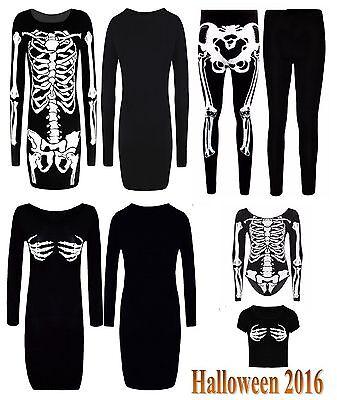 Halloween Costume Womens 2017 (New Womens 2017 Halloween Leggings Bodysuit Skeleton Dress Ladies Costume)