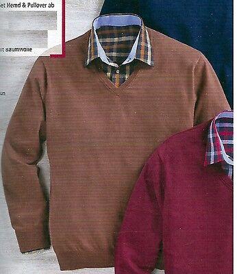 SET Hemd und Pullover (100% Baumwolle) braun  MAXCLUSIV GR. 43/44 (Kragenweite) ()
