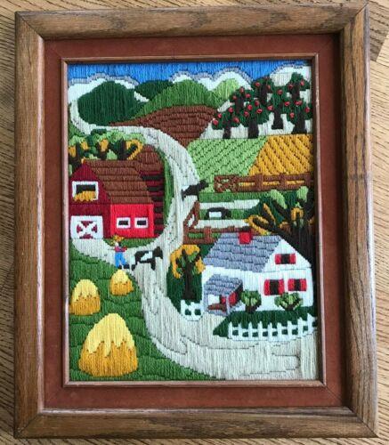 Finished! Vtg. Longstitch Crewel Embroidery Harvest Farm Scene  Matted & Framed