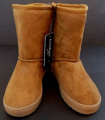 bebe Girls ~ Cognac/Brown Faux Suede Boots ~ Children Size 12 ~ Slip On ~ NWT - Girls Brown Suede Boots