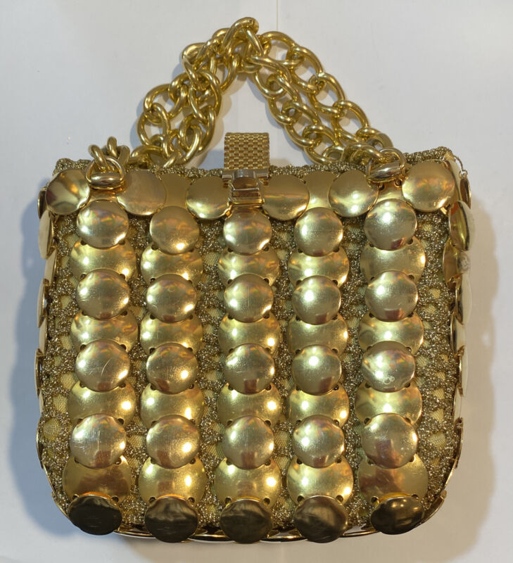 Vintage 1960's Gold Metal Disk Purse Italy ColorMate EUC VaVoom