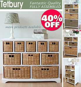 Large White Storage Unit Wicker Drawers Hallway Kitchen Bathroom Storage EBay
