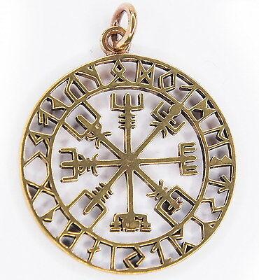magischer OEGIRSHJALMR Wikinger Kompass + Lederschnur Bronze Runenkreis Runen M2