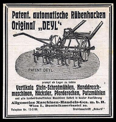 Alte Werbung Reklame 1921 Rübenhacker Deyl Allg. Maschinen-Handels-Ges. Wien