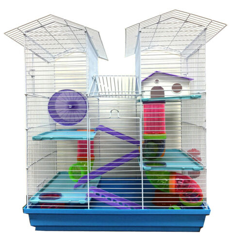 Large Twin Tower Dwarf Hamster Habitat Rodent Gerbil Mouse Cage Tube Tunnels