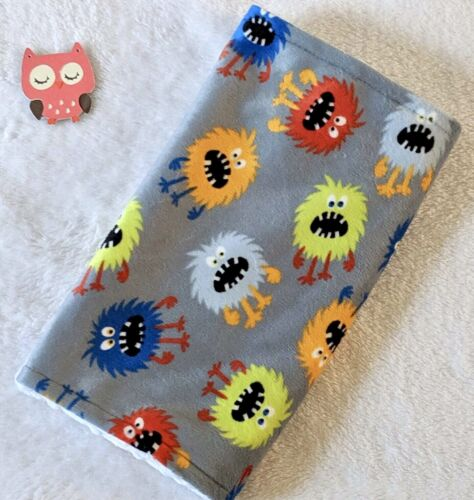 Handcrafted, Monster Minky Print & White Minky Bubble, Baby Burp Cloth
