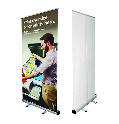 33x79 Retractable Banner Stand Trade Show Roll Up Custom Display Free Printing