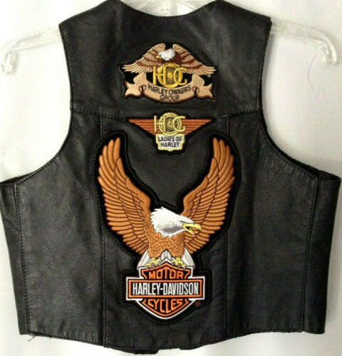 Harley Davidson Lined Leather Motorcycle Vest HOG *Size XL Ladies Of Harley Unik
